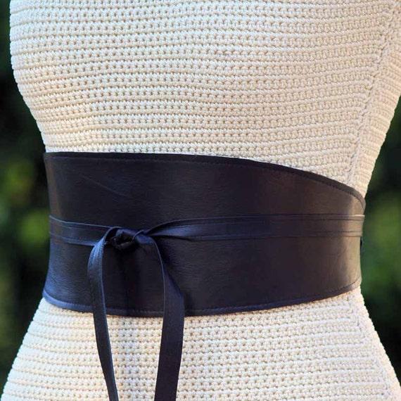 reversible black leather wide obi wrap sash belt by