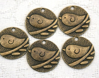 Brass Bird charms set of 10 - 5 single birds and 5 with two birds