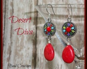 Red Silver Earrings Enamel Connector Blue Purple Turquoise Green DESERT DIVA