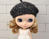 New designed Longhair Angola Wool Black Beret for Blythe Doll