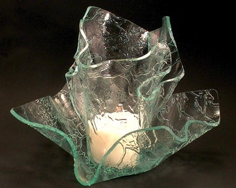Vase Candle Set - Clear Delta Glass Vase and Dish with Free Spring Rain Soy, Paraffin Wax Blend, Paper Core, Self-trimming Wick Candle