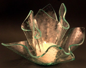 Vase Candle Set - Clear Master Carre Vase and Dish with Free Spring Rain Soy, Paraffin Wax Blend, Paper Core, Self-trimming Wick Candle