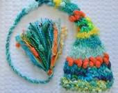 Newborn Baby Boy Hat Knit BaBY PHoTO PRoP Fancy Yarn LoNG SToCKiNG CAP Unique Aqua Orange Lime Beanie CaRiBe DeLISH Fat TaSSeL Pixie Toque
