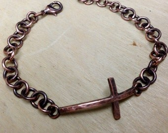 Copper Sideways Cross Bracelet