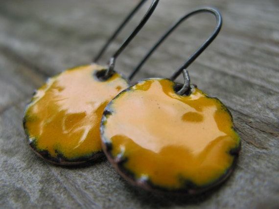 SALE marigold enamel earrings - oxidized silver