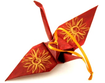 Burgundy Origami Paper Crane Ornament with Gold Sunflowers Decor Home Decor