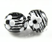 White Flower Hollow Lampwork Glass Bead Pairs