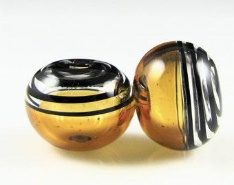 Topaz and Black Swirls Lampwork Glass Bead Pairs