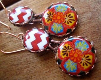 Colorful earrings, Mexican Talavera plate earrings, Mexican Jewelry, Steampunk Carnival jewelry, Red, folk, Statement earrings
