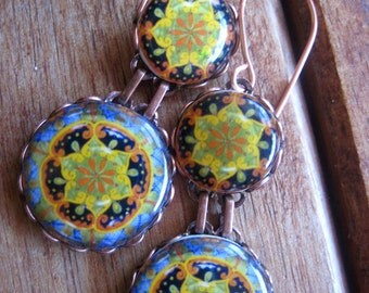 Galaxy Nebula design, Mexican Talavera plate, dangle earrings, MTO, statement earrings, star, compass, cosmos