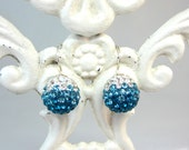 Teal and White Pave Crystal Earrings Sterling Silver Earwires  Spring Fashions