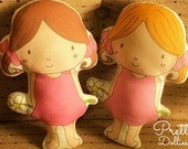 Twins -- Pretty Dollies -- doll/pillow/plush/softie/decor --- brown/gold hair -- (made to order)