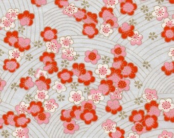 Chiyogami or yuzen paper - pink and red cherry blossoms on a metallic silver background with gold plum blossom accents, 9x12 inches