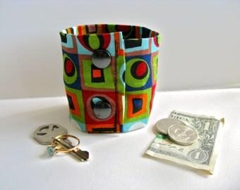 """Money Wrist Cuff- """"Secret Stash""""-  Geometric Klimt Inspired-   Hide your money, keys, jewels, health info in a hidden zipper."""
