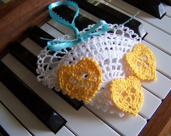 Crochet Heart pocket and Mini Heart 2-in1 PDF patterns, download immediately, ornament, gift or name tag, bookmark