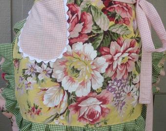 Aprons - Pink Rose Apron - Yellow Rose Apron - Shabby Chic Apron
