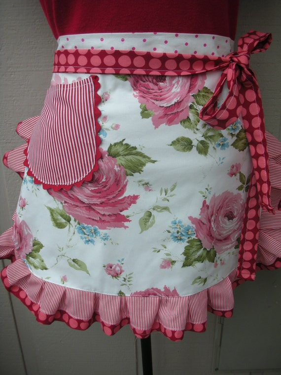 Half Aprons - Womens Half Aprons - Wild Rose Apron - Handmade Aprons - Red and White Rose Aprons - Annies Attic Aprons