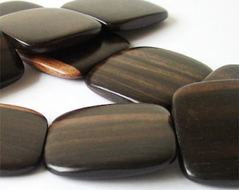 Tiger Ebony Flat Square 35mm Wood Beads, center-drilled, 1 16 inch strand