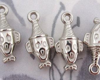 12 pcs. silver plated resin clown head charms 19x12mm - f2842