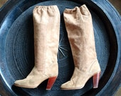 Vintage Zodiac Tall Knee High Tan Suede Leather Boots - Tall Western Boots - Size  6.5M