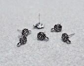 Silver Rose Earrings- post earring findings
