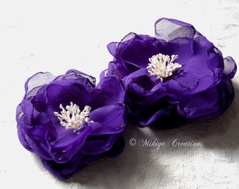 Wedding Hair Flower, Sash Flowers, Chiffon Hair Flowers, Wedding Hair Clips, Bridal Accessories - Sash Accessories In Royal PurpleChiffon