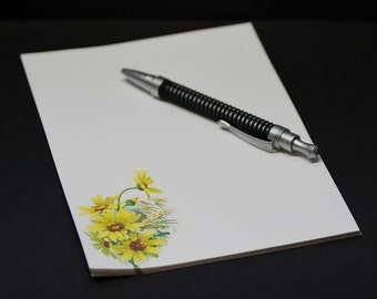 Yellow Daisies, fine stationery set, letter writing set, hand written letters, 30 pieces, lined or unlined personal correspondence