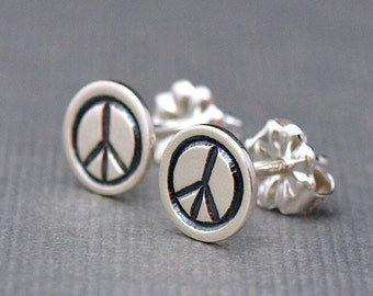 Peace Sign Earrings , Small Sterling Silver Earrings , Sterling Silver Studs , Hippie Jewelry , Yoga Jewelry