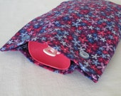Purple, Blue and Pink Floral Flannel Hot Water Bottle Cover