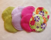 Soft Flannel Nursing Pads, 4 Pair in Green, Lavender, Pink, and Floral Print with Bamboo/Cotton Fleece