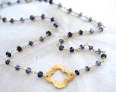 Iolite Clover Necklace. Navy Gemstone.