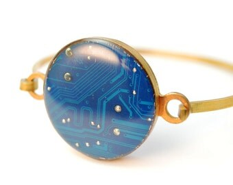 Circuit Board Bracelet Blue and Brass Eco Friendly Gift Under 50