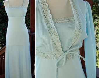 SKY Blue 1970's Vintage Polyester Gown with Matching Bolero Jacket with Lace size Extra Small
