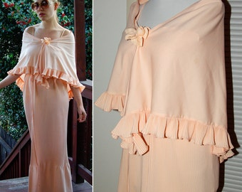 Soft Peach 1970's Vintage Polyester Gown with Matching Ruffled Cape size Small XS