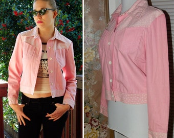 Pretty in PINK 1980's 90's Vintage Cropped Pink Jean Jacket with Flowers by JOHN MEYER size Small