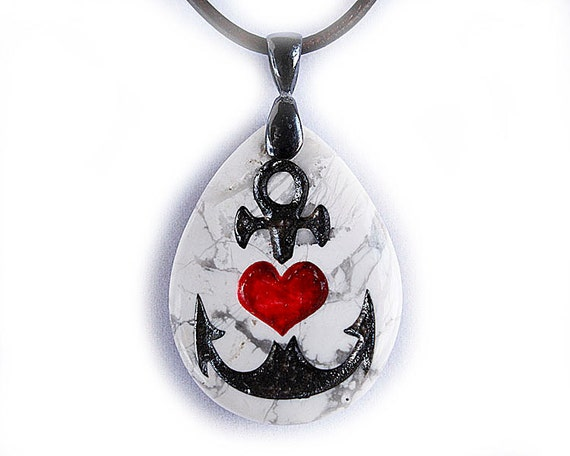 Nautical Tattoo - Style Love Anchor with Heart - Engraved Stone Pendant
