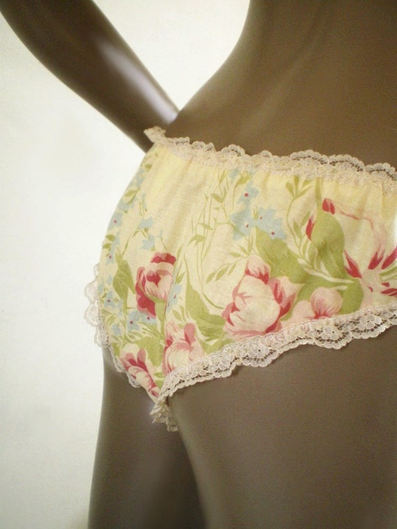 Pretty Panties Yellow Flower Patterned Knickers Handmade All