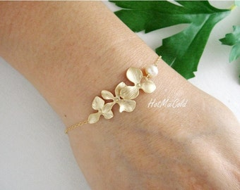 Gold Orchid Flowers Bracelet and White Pearl, Gold Fill Bracelet, Birthday, Anniversary, Wedding Bracelet, Bridesmaid Jewelry Silver