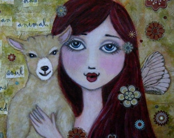 Animal Protector Faerie, Fine Art Giclee Print, Children's Art, 8 x 10, Animal Charity, Goats, Folk Art, Faeries