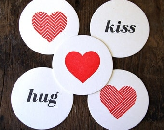 Heart Geometry & Hug/Kiss: Letterpress Coasters (10ct)