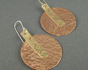 Copper, Brass  and Sterling Silver Mixed Metal Large Circle  Earings