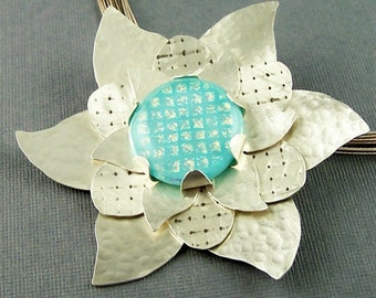 Ships within 24 hours Turquoise Dichroic Glass and Sterling Silver Flower Pendant
