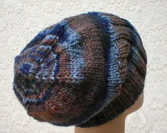 Slouchy hat, watch cap, brimmed beanie, denim indigo navy blue rust taupe brown swirl hat, winter hat, hand knit toque, mens womens hat