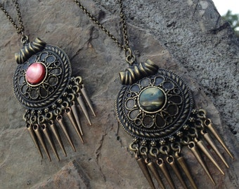 Bronze Medallion Necklace on Bronze Rolo Chain - Bohemian Jewelry - Layering necklace