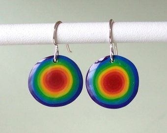 Earrings - Rainbow Dots polymer clay red inside