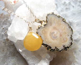 Sale- Halle, Bejeweled Stalactite Slice Necklace