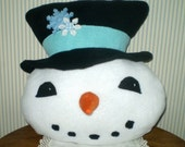 Frosty the Snowman pillow- Handmade fleece pillow with snowflake trim-- super soft Happy snowman pillow- white, black, blue-top hat
