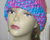 Knit Hat, Unisex Toboggan, Adult Beanie, One Size Fits Most, Raspberry Bon Bon