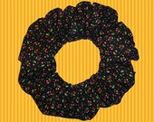 Tiny Cherries on Black Hair Scrunchie, Themed Cotton Ponytail Holder, Hair Tie