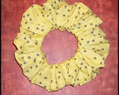Tiny Bee's Hair Scrunchie, Yellow Hair Tie, Fabric Ponytail Holder